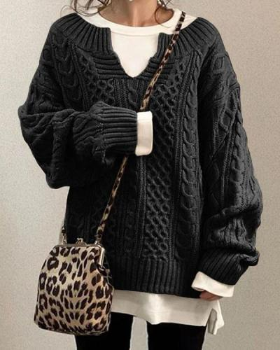 Cable Knit Boat Neck Long Sleeves Loose Sweater