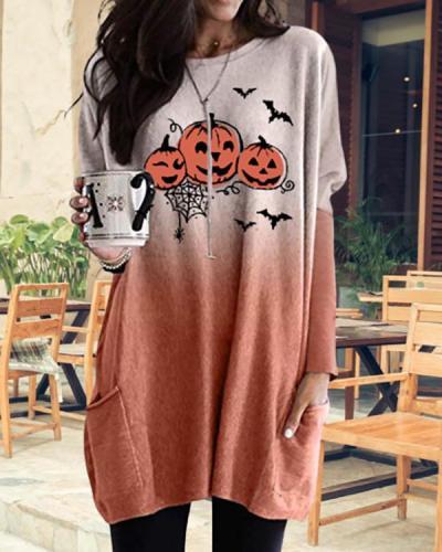 Halloween Round Neck Pocket Print Dress