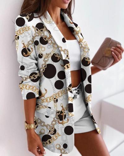 Women's Print Temperament Slim Blazers