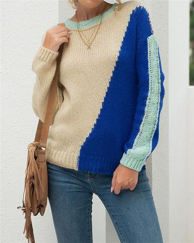 Early autumn round neck long-sleeved sweater top