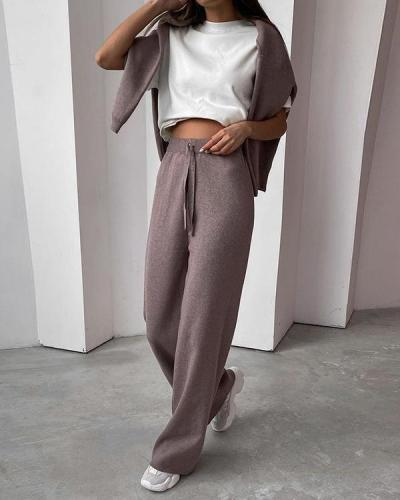 Pure color casual high-necked long-sleeved sweater and trousers women's suit
