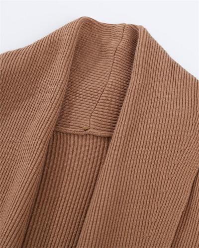 Pure color loose ladies fashion long coat jacket