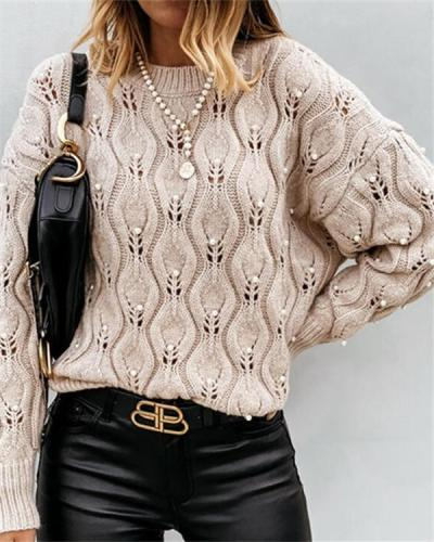 Pure Color Round Neck Bubble Bead Hollow Loose Knitted Sweater