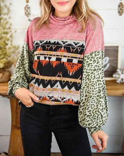 Splicing Long Puff Sleeve Sweatshirt
