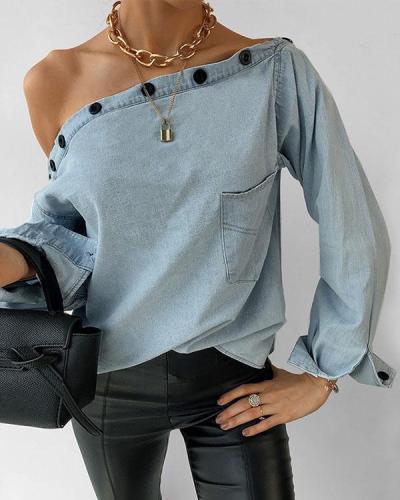 Button Dew Shoulder Denim Shirt