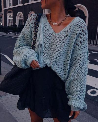Sexy V-Neck Hollow Solid Color Loose Knit Sweater