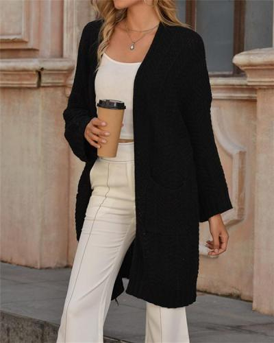 Solid Color Long Knitted Cardigan Sweater