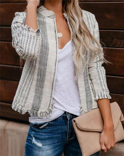 Round Neck Striped Stylish Slim Coat