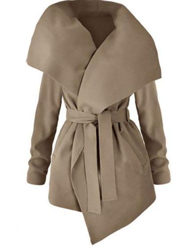 Lapel Belt Plain Long Sleeve Trench Coats
