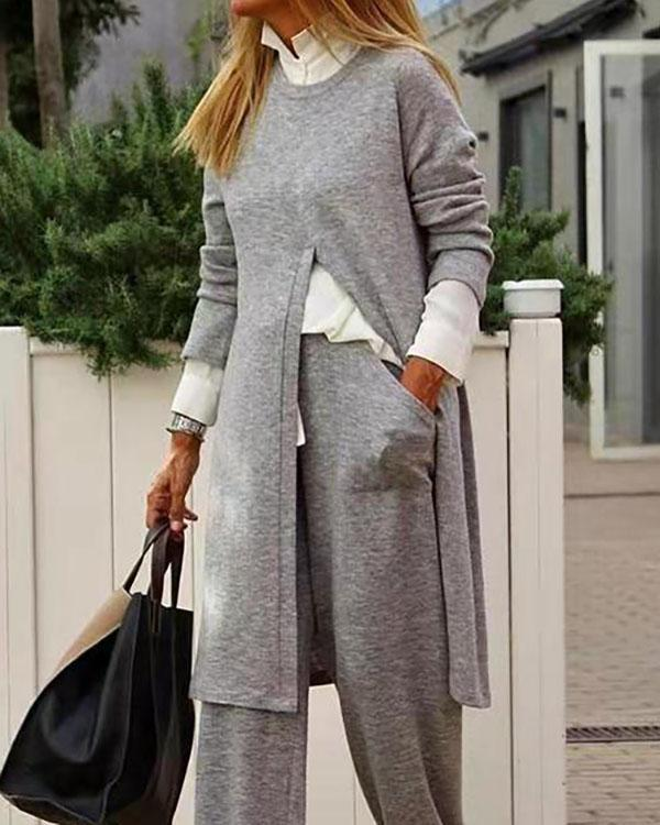 Women's Solid Color Sweater Suit