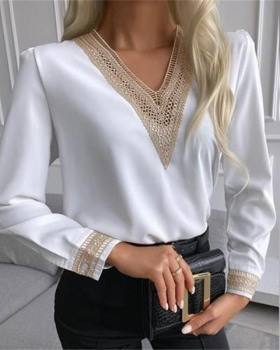 V-neck Lace Cut-out Long-sleeved Shirt