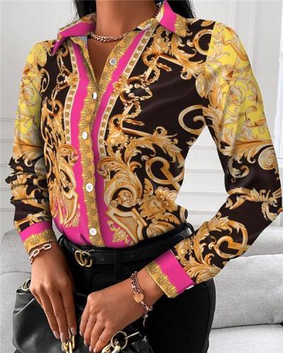 Women's Long-sleeved Printed Shirt