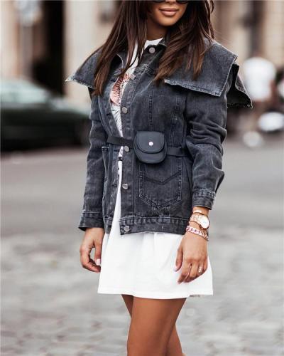 Long-sleeved Cotton Slim-fit Blue Denim Jacket