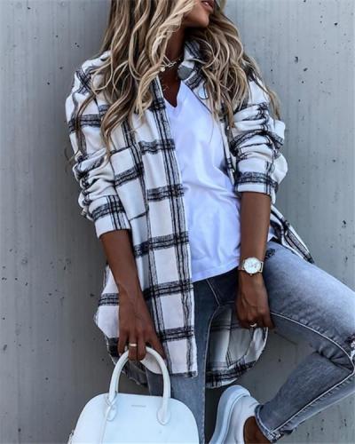 Long Sleeve Plaid Shirt Mid-length Coat