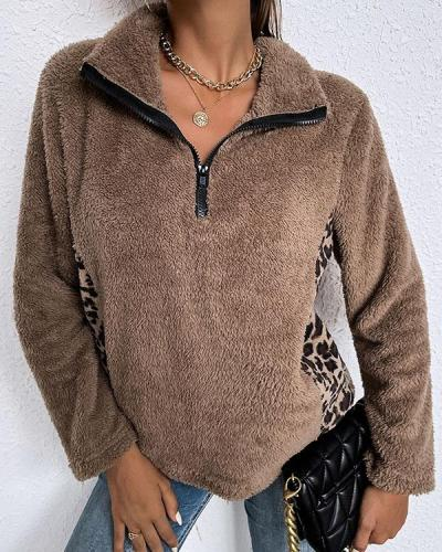 Stitched Leopard Print Lapel Long Sleeves Top