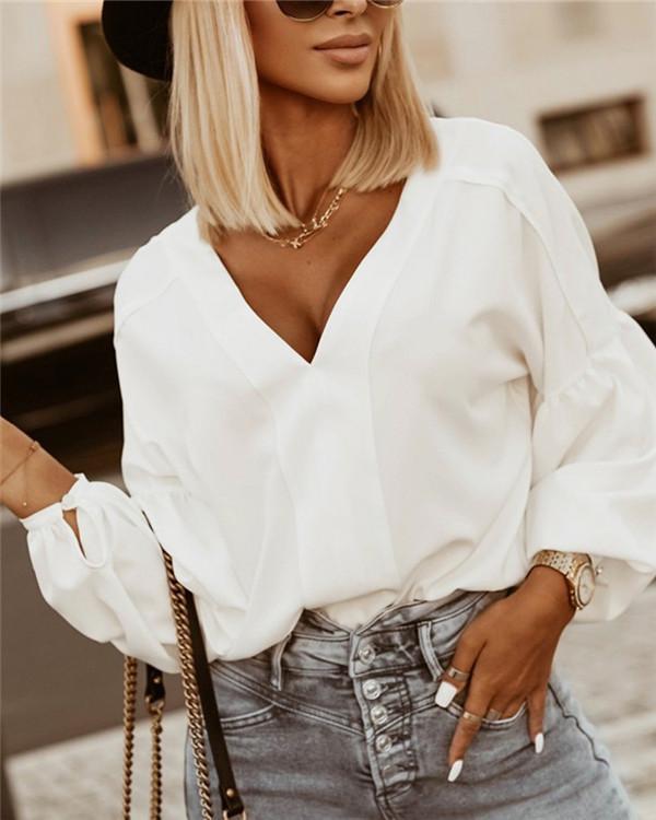 Street Fashion V-neck White Shirt