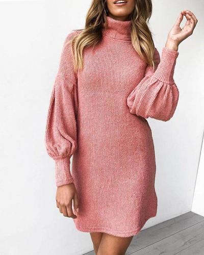 Pure Color Lantern Sleeve High Neck Rib Mini Dress