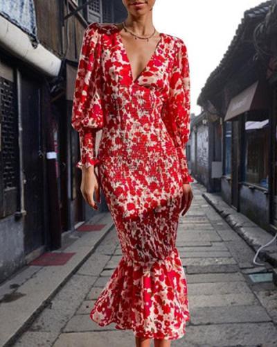 Floral V Neck Puff Sleeve Elegant Mermaid Dress