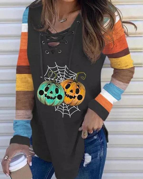 Halloween Pumpkin Striped V-Neck Tie Long Sleeve T-Shirt