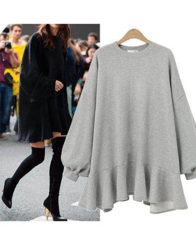 Round Neck Irregular Ruffle Sweatshirt Mini Dress