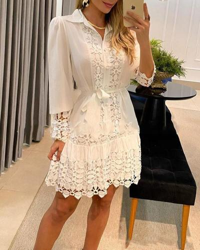 Solid Lace Long Sleeves Shift Knee Length Casual Dresses