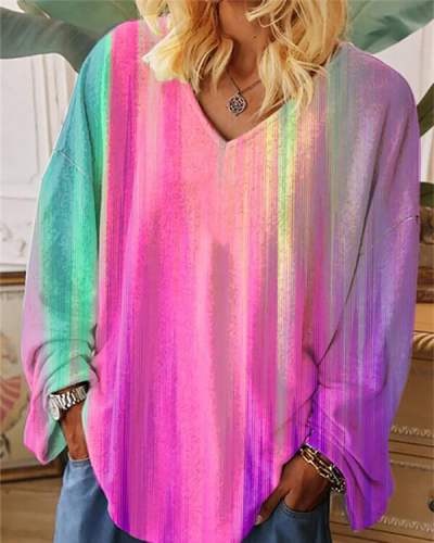 V-neck Printing Long-sleeved Painting Multicolor Loose-fitting Women's T-shirt