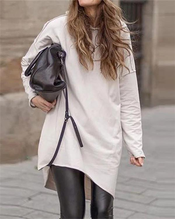 Casual Round Neck Solid Color Mid-length Sweater