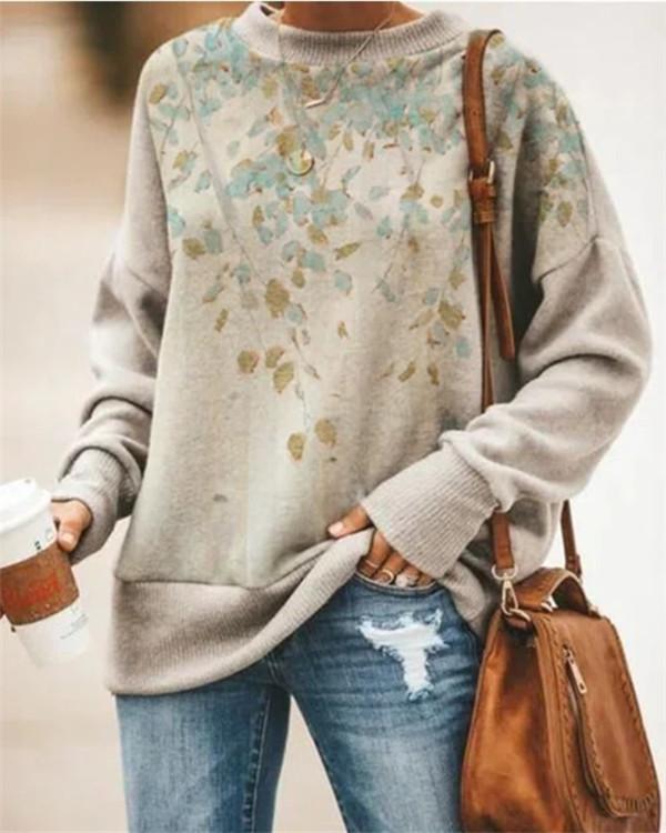 Printed Long-sleeved Round Neck Sweatshirt