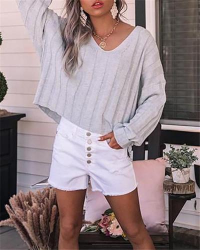 Loose V-neck Short-sleeved Knitted Sweater