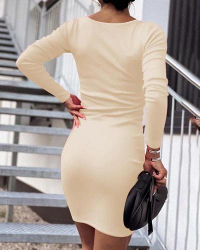 Women V-Neck Tight Mini Dress