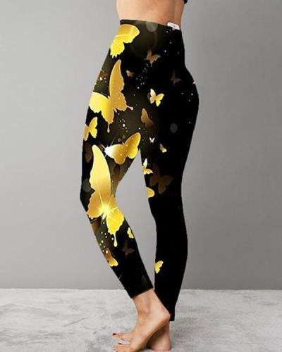 Women Print High Waist Leggings Workout Leggings