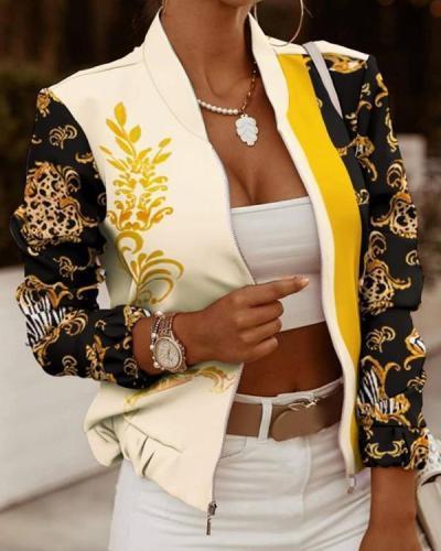 Women's Jackets Printed Stitching Zipper Outerwear
