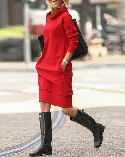 Solid Pockets Hooded Dress