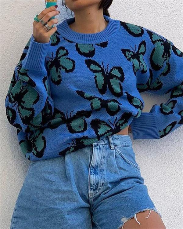 Blue Butterfly Pattern Round Neck Long Sleeve Woolen