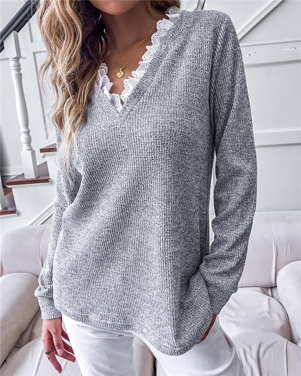 V-neck Light Gray Loose Pullover Top