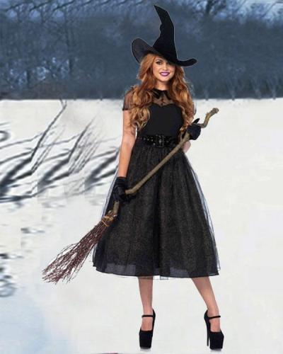 Gothic Halloween Tulle Dress Witch Costume 5PCS Outfit