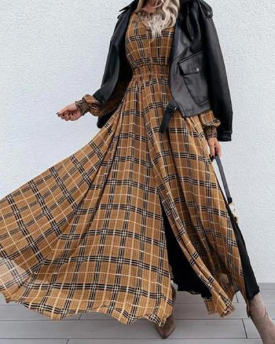 Emprie Waist Plaid Long Sleeve Maxi Dress