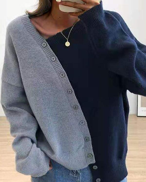 Color Block Asymmetrisch Button Sweater