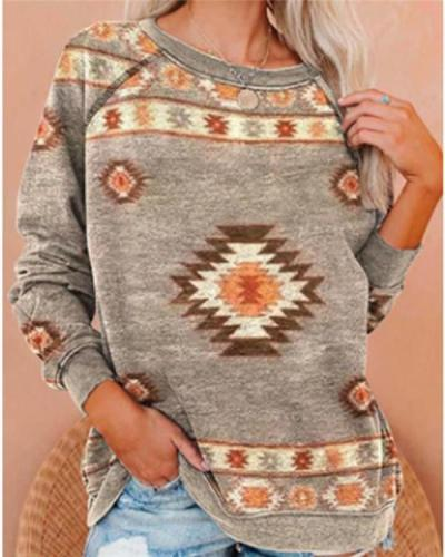 National Style Printed Loose-fitting Sweater