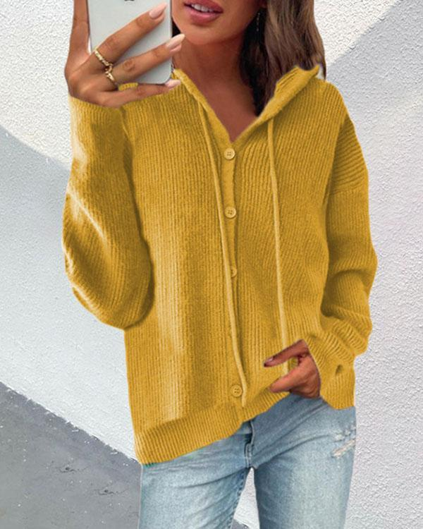 5 Colors Button Hoooded Knitted Sweater Cardigan