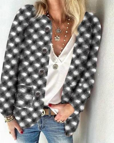 Lattice Woolen Cardigan Outerwear
