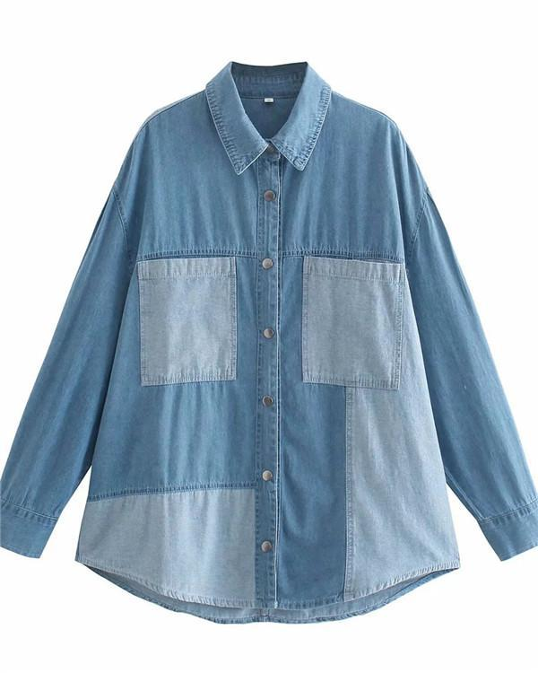 Loose Shirt with Contrast Pocket Stitching