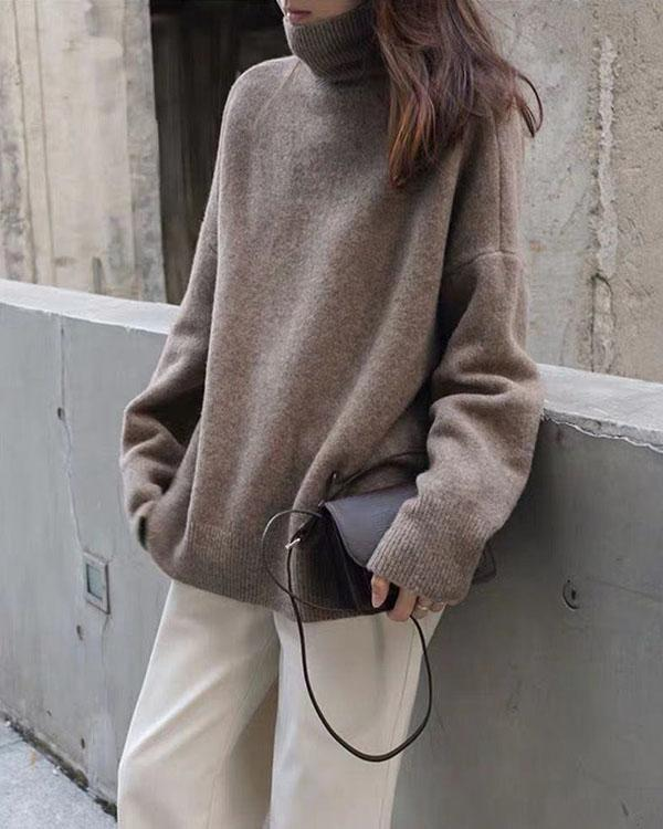 Mnimalistic Pure Color Turtleneck Casual Sweater