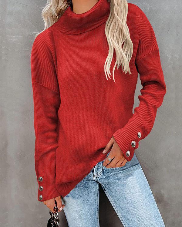 Metal Button Decor Pure Color Turtleneck Rib Sweater