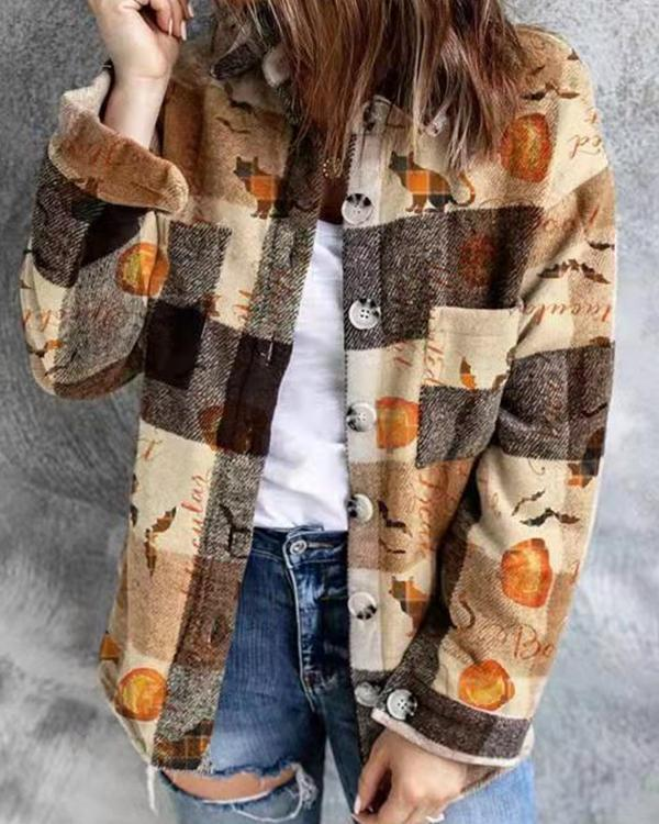 Halloween Print Casual Loose Vintage Outerwear