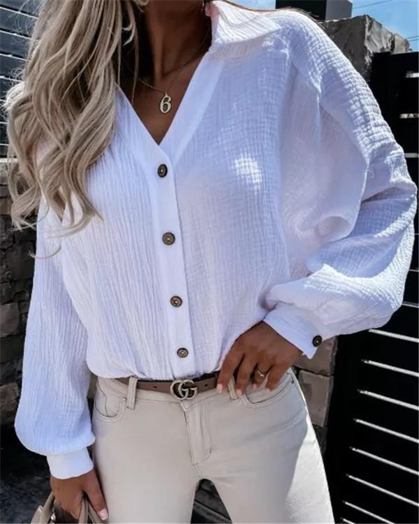 Solid Color V-neck Lantern Sleeve Pleated Shirt