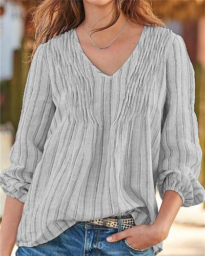 Comfortable Striped Long-sleeved V-neck Shirt