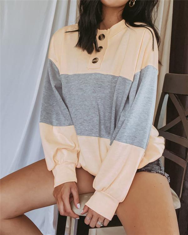 Colorblock Stitching Button Lantern Long Sleeves