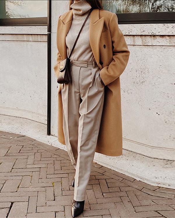Women's Fashion Long Woolen Coat