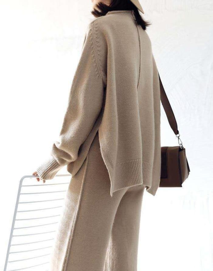 Long sleeve knitted sweater solid color loose fashion casual two-piece suit